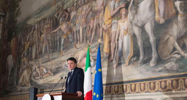 Renzi ai Musei Capitolini presso la Sala degli Orazi e dei Curiazi