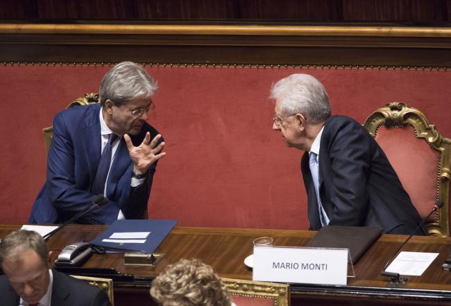 Gentiloni e Monti in Senato
