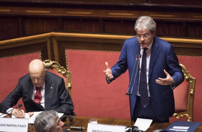 Gentiloni e Napolitano in Senato