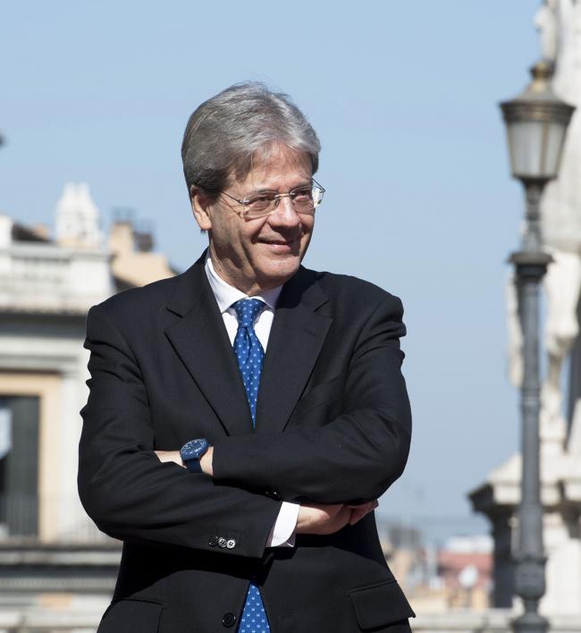Paolo Gentiloni in Piazza del Campidoglio