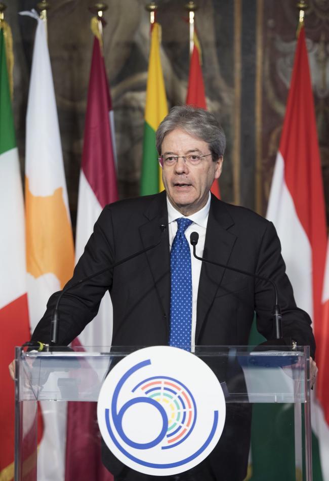 #EU60, il Presidente Gentiloni in conferenza stampa - #EU60, President of the Council of Ministers Gentiloni during the press conference