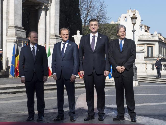 Paolo Gentiloni, Joseph Muscat, Donald Tusk, Andrej Plenković, in Piazza del Campidoglio