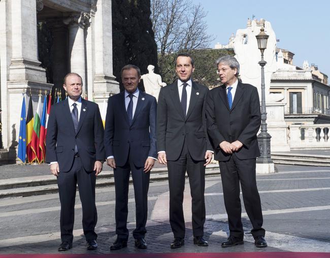 Paolo Gentiloni, Joseph Muscat, Donald Tusk, Christian Kern, in Piazza del Campidoglio