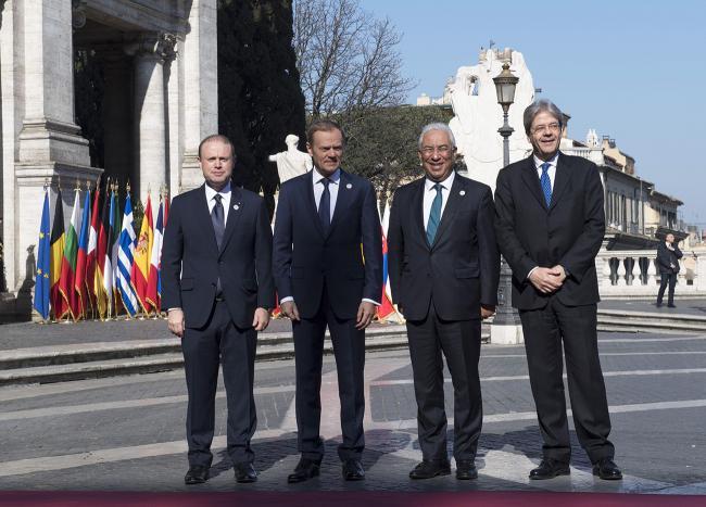 Paolo Gentiloni, Joseph Muscat, Donald Tusk, António Costa, in Piazza del Campidoglio