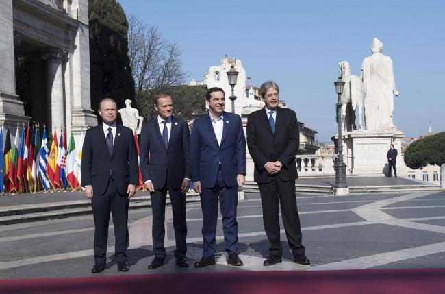 Paolo Gentiloni, Joseph Muscat, Donald Tusk, Alexis Tsipras, in Piazza del Campidoglio