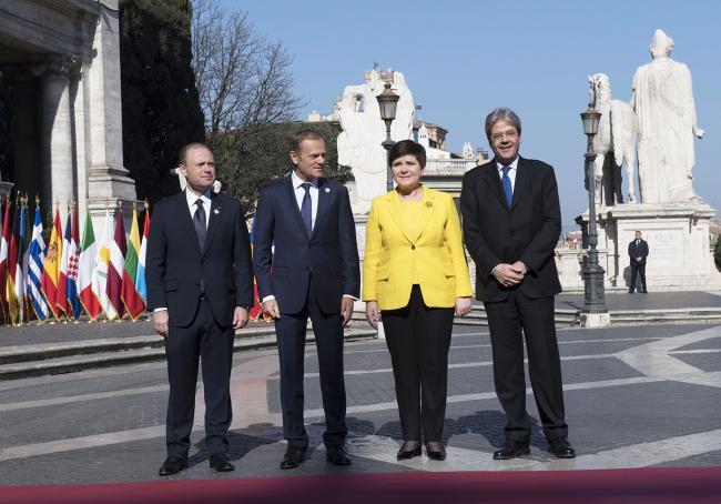 Paolo Gentiloni, Joseph Muscat, Donald Tusk, Beata Szydło, in Piazza del Campidoglio