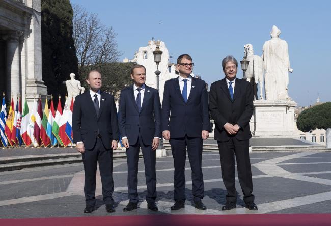 Paolo Gentiloni, Joseph Muscat, Donald Tusk, Juha Sipilä, in Piazza del Campidoglio