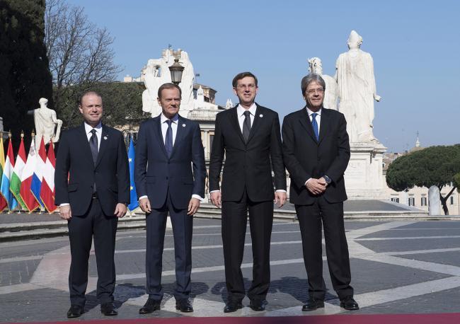 Paolo Gentiloni, Joseph Muscat, Donald Tusk, Miro Cerar, in Piazza del Campidoglio