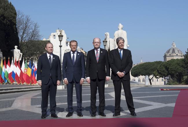 Paolo Gentiloni, Joseph Muscat, Donald Tusk, Bohuslav Sobotka, in Piazza del Campidoglio