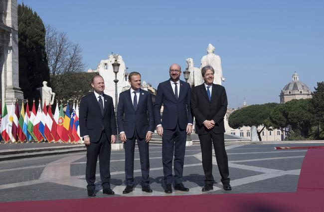 Paolo Gentiloni, Joseph Muscat, Donald Tusk, Charles Michel, in Piazza del Campidoglio