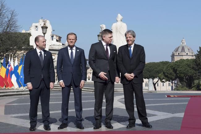 Paolo Gentiloni, Joseph Muscat, Donald Tusk, Robert Fico, in Piazza del Campidoglio