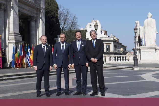 Paolo Gentiloni, Joseph Muscat, Donald Tusk, Xavier Bettel, in Piazza del Campidoglio