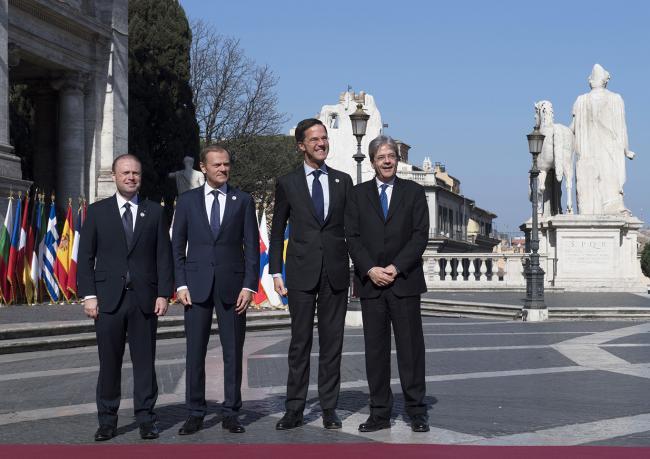 Paolo Gentiloni, Joseph Muscat, Donald Tusk, Mark Rutte, in Piazza del Campidoglio