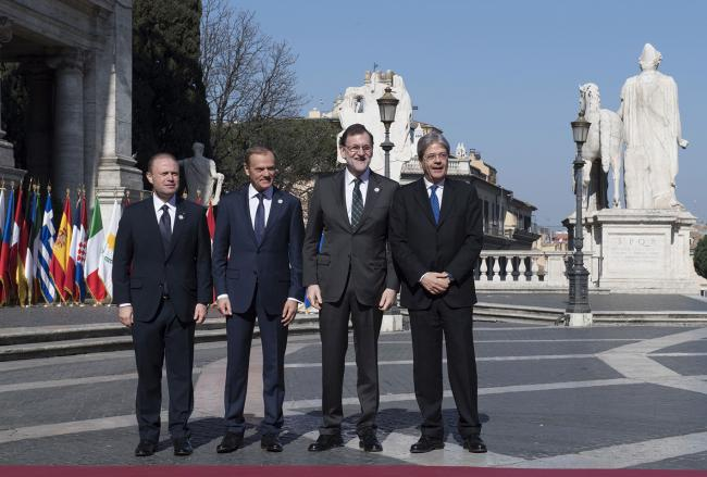 Paolo Gentiloni, Joseph Muscat, Donald Tusk, Mariano Rajoy Brey, in Piazza del Campidoglio