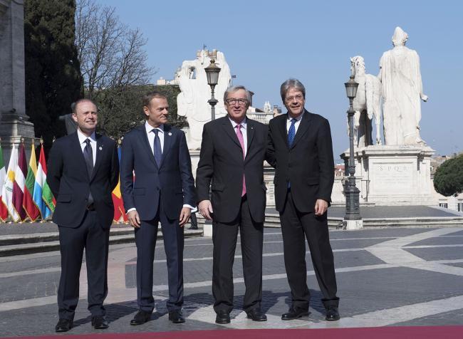 Paolo Gentiloni, Joseph Muscat, Donald Tusk, Jean-Claude Juncker, in Piazza del Campidoglio