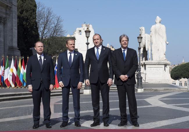 Paolo Gentiloni, Joseph Muscat, Donald Tusk, Rumen Radev, in Piazza del Campidoglio