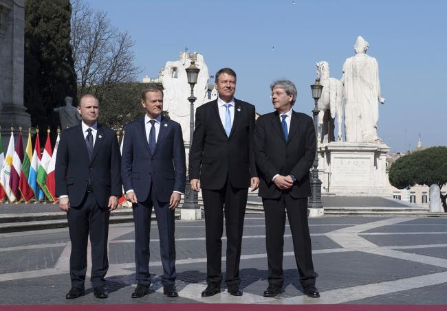 Paolo Gentiloni, Joseph Muscat, Donald Tusk, Klaus Werner Iohannis, in Piazza del Campidoglio