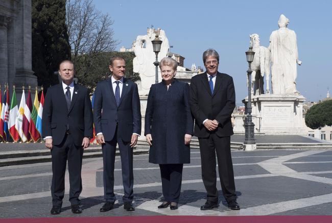 Paolo Gentiloni, Joseph Muscat, Donald Tusk, Dalia Grybauskaité, in Piazza del Campidoglio