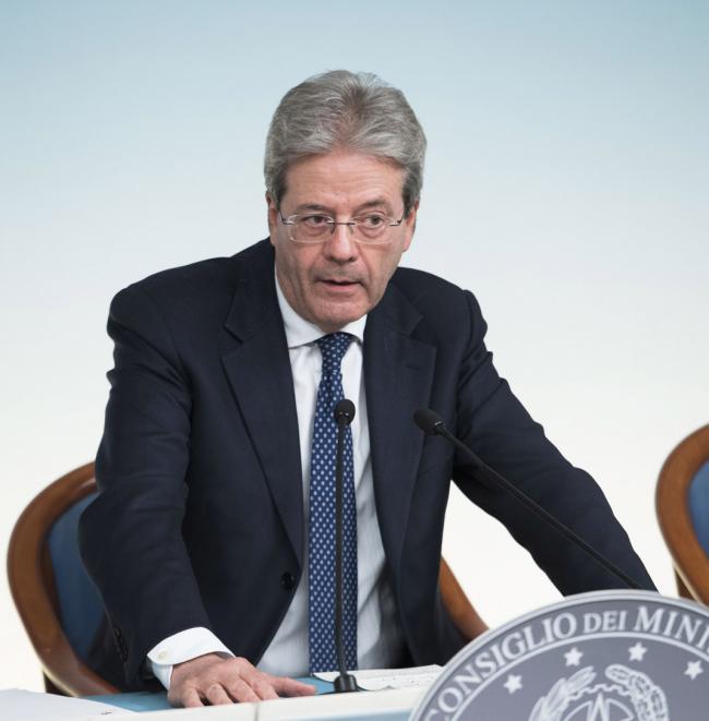 Il Presidente Gentiloni in conferenza stampa al termine del Consiglio dei Ministri n. 23