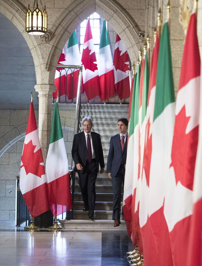 Il Presidente Gentiloni incontra a Ottawa il Primo Ministro canadese Trudeau