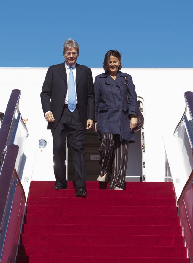 Gentiloni a Pechino, l'arrivo