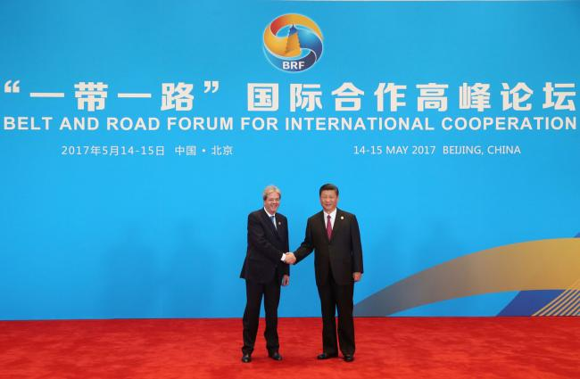 Gentiloni con il Presidente della Repubblica popolare cinese Xi Jinping