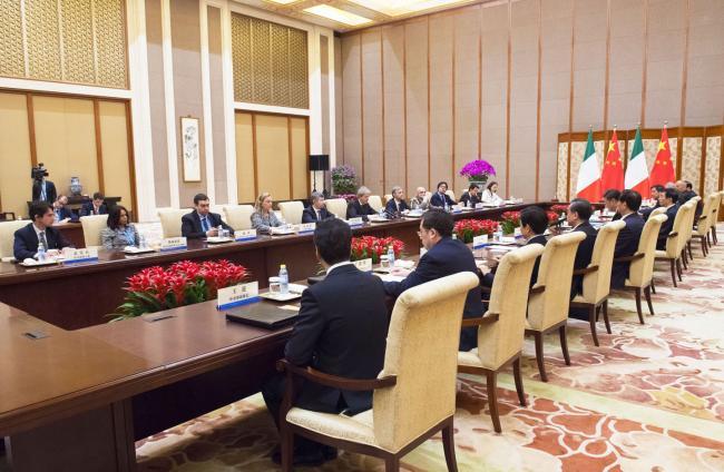 Gentiloni incontra il Presidente della Repubblica popolare cinese Xi Jinping