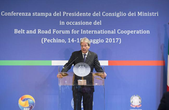 Il Presidente Gentiloni in conferenza stampa a Pechino