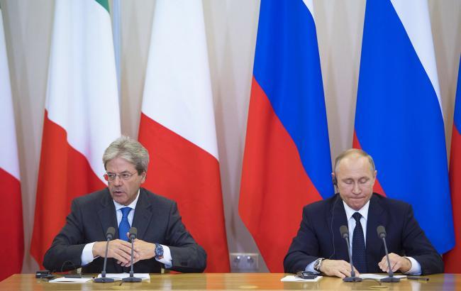 La conferenza stampa Gentiloni - Putin