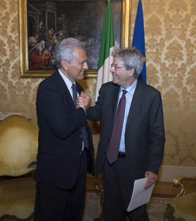 "Gentiloni riceve i relatori della Conferenza ""Documenting our Heritage at Risk"""