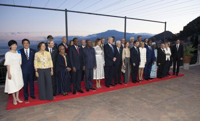 Taormina, 26/05/2017 - Cena dei leader con il presidente della Repubblica Sergio Mattarella