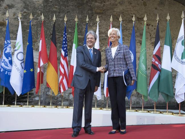 Summit G7 Taormina, Gentiloni accoglie la Direttrice del Fondo Monetario Internazionale