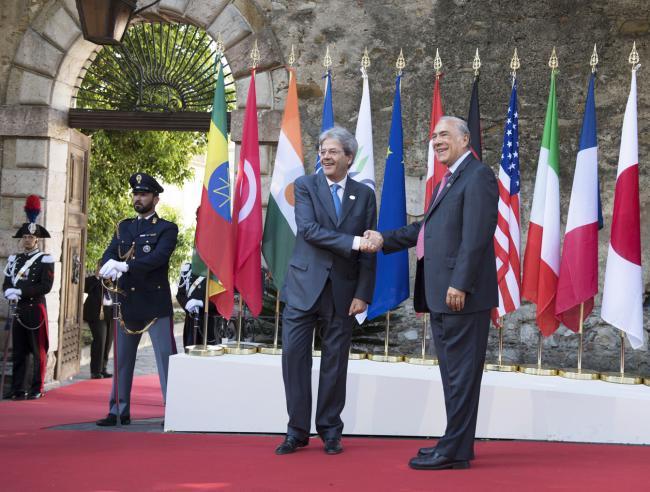 Summit G7 Taormina, Gentiloni accoglie il il Segretario Generale dell'OCSE