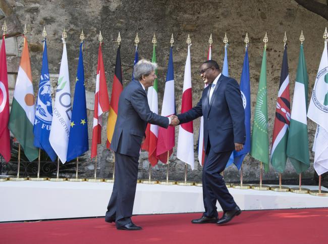 Summit G7 Taormina, Gentiloni accoglie il Primo Ministro dell'Etiopia