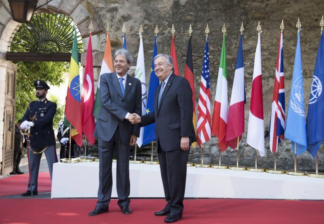 Summit G7 Taormina, Gentiloni accoglie il Segretario Generale dell'ONU