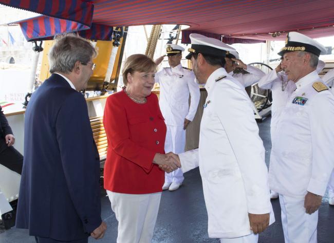 Gentiloni accoglie la Cancelliera tedesca Angela Merkel