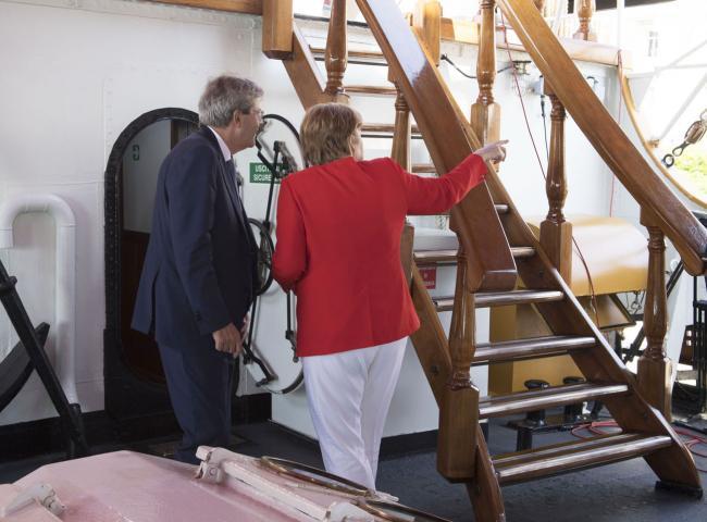 Gentiloni con la Cancelliera tedesca Angela Merkel