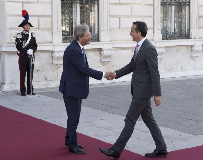 Gentiloni con il Cancelliere d'Austria Christian Kern