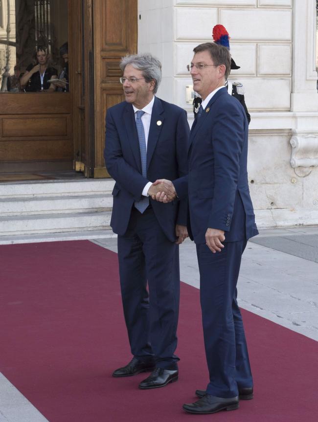 Gentiloni con il Primo Ministro della Slovenia Miro Cerar