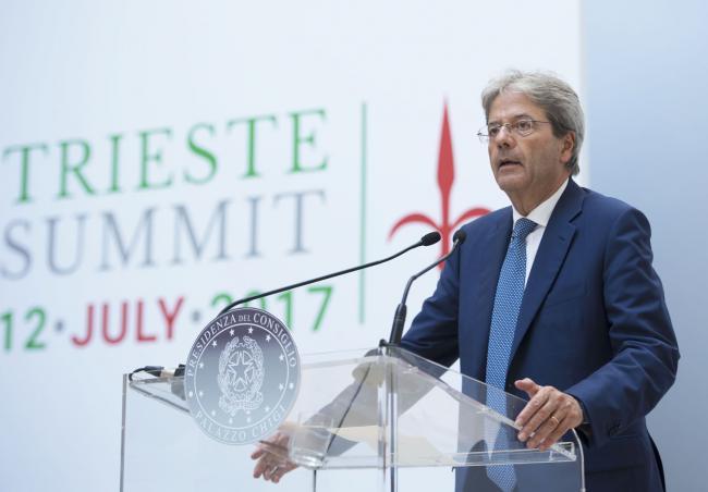 Trieste Summit, conferenza stampa del Presidente Gentiloni