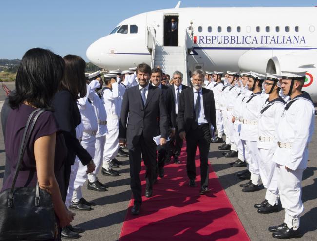 L'arrivo dei Ministri a Corfù per il Vertice intergovernativo Italia-Grecia