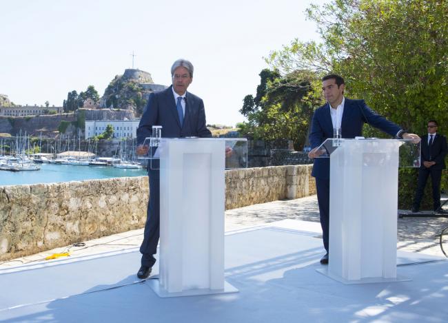 Gentiloni e Tsipras in conferenza stampa