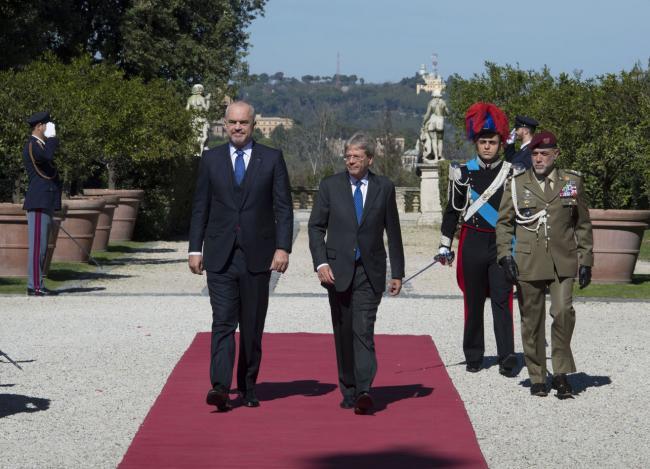Gentiloni riceve il Primo ministro della Repubblica d'Albania