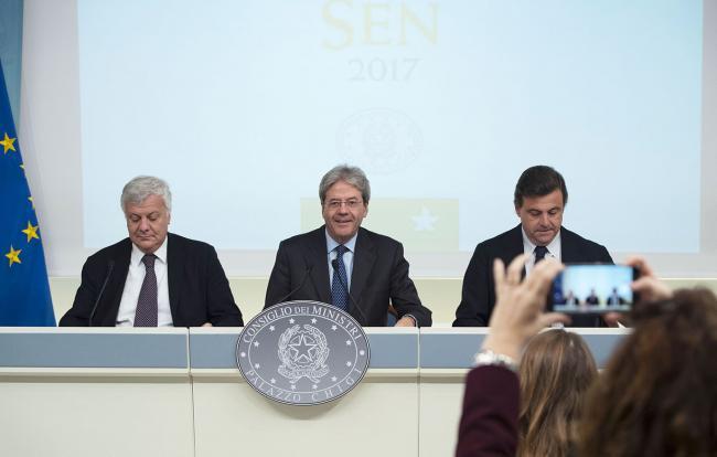 Il Presidente Gentiloni e i Ministri Calenda e Galletti presentano la Strategia energetica nazionale