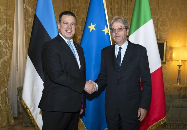 Gentiloni riceve il Primo Ministro della Repubblica d'Estonia