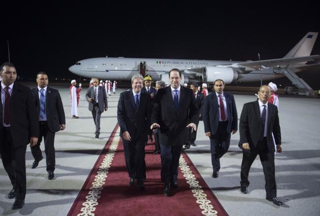 Arrivo del Presidente Gentiloni a Tunisi