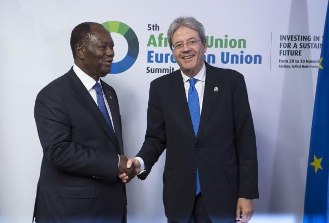 Gentiloni con il Presidente della Repubblica della Costa d'Avorio
