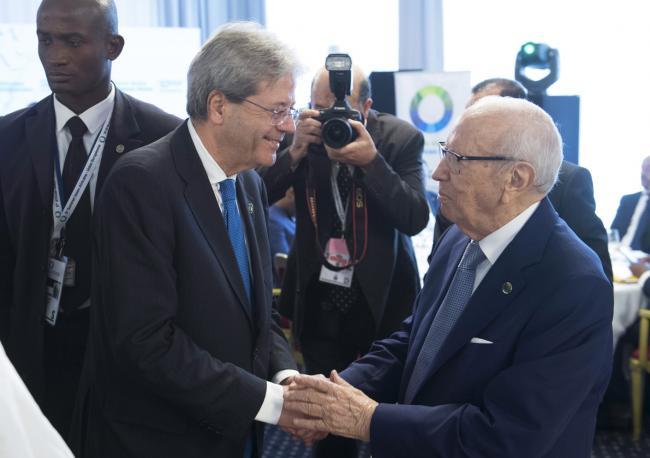 Gentiloni con il Presidente della Tunisia