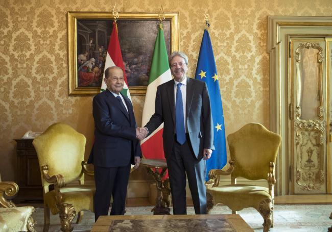 Gentiloni incontra il Presidente del Libano Aoun