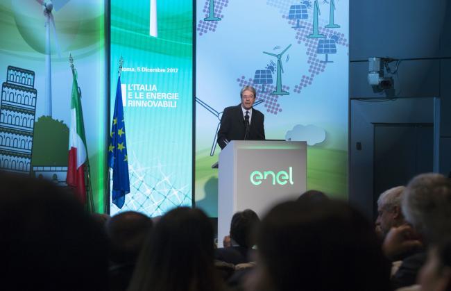 """Gentiloni al convegno """"L'Italia e le energie rinnovabili"""""""